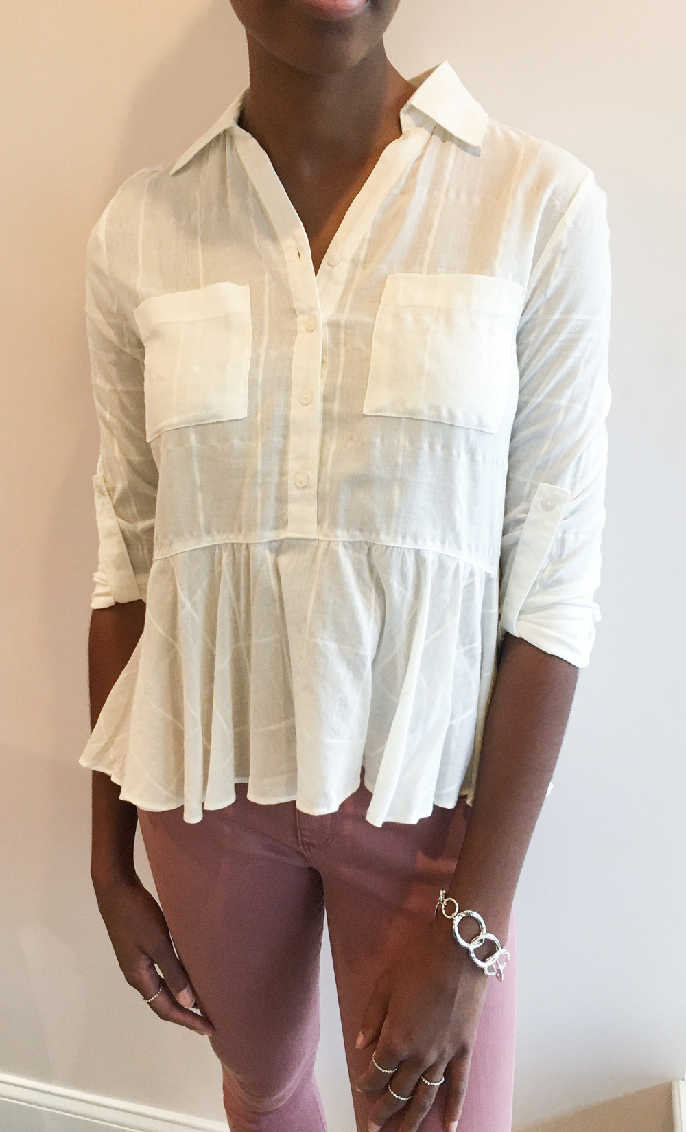 She and Sky Peplum Button Down $39