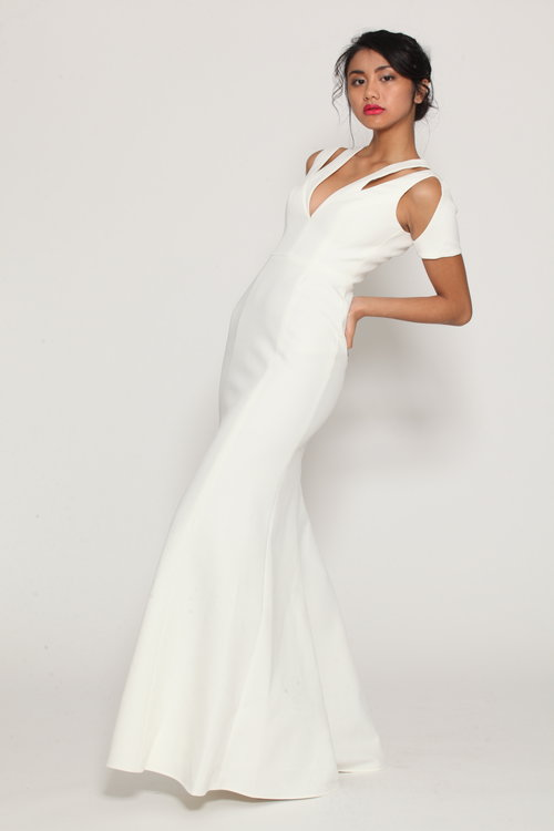 White Cutout Gown — Pink Tulip Club Boutique