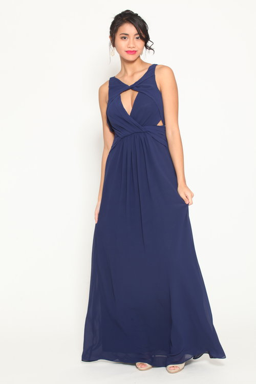 Blue gown with front and back cutouts — Pink Tulip Club Boutique