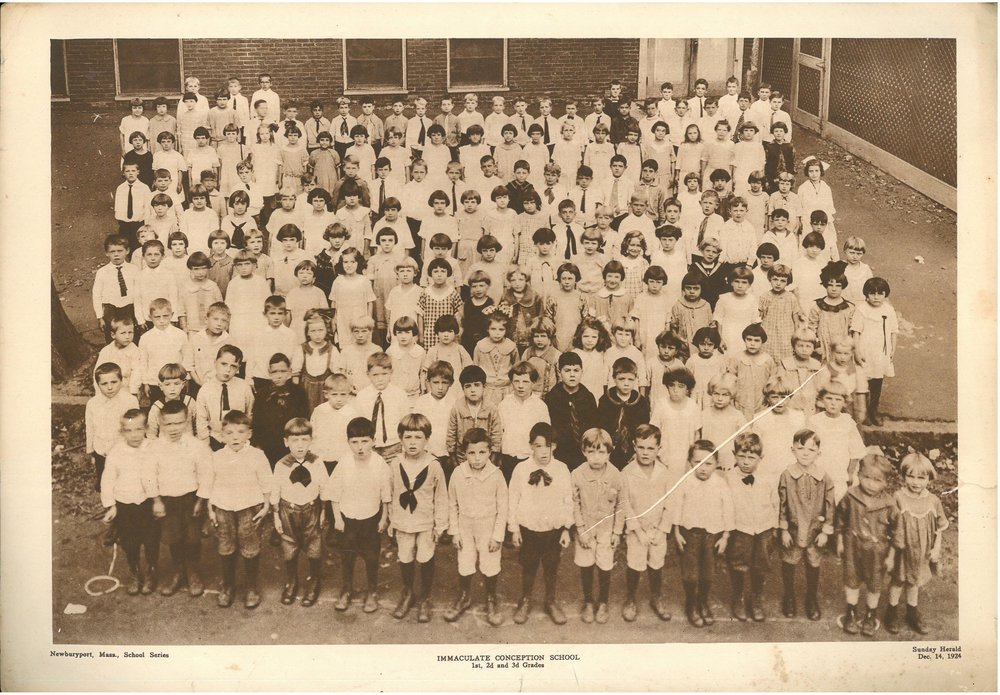 1st, 2nd, and 3rd grade students at Newburyport's predominantly Irish Immaculate Conception School in 1924.