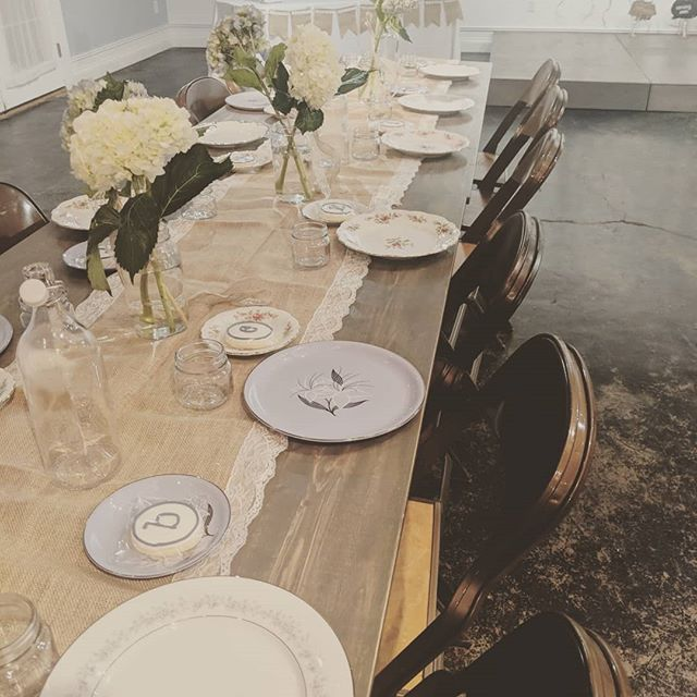Congrats to the Jarmulas who hosted their baby shower with us last Saturday.  We love when clients bring in vintage dishes.  It really sets the scene. How cute  is their little set up?  #babyshower #eventspace #indyevents