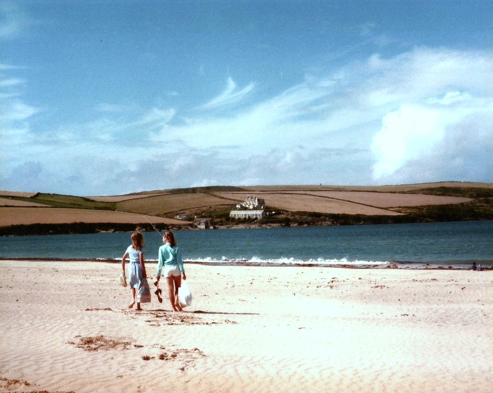 Childhood holidays in north Cornwall - and the emotional significance of a certain place - sparked the initial idea. Here my sister and I are walking on Tregirls Beach, aged 11 and 9, 1984.