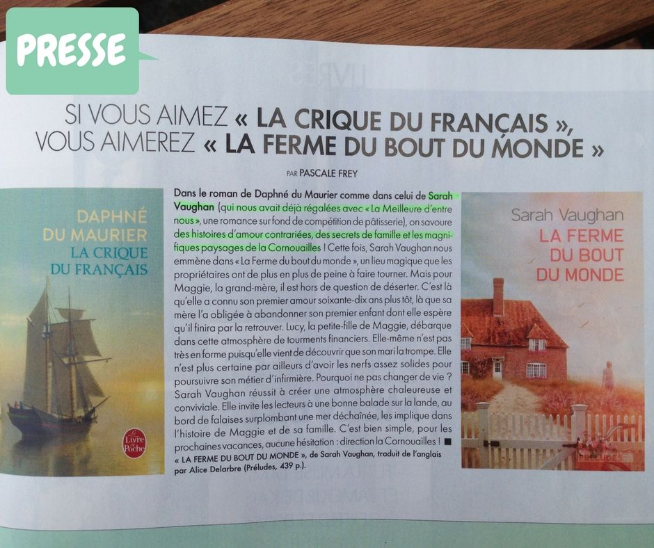 Likened to Daphne du Maurier - a huge inspiration for this novel - in French Elle.