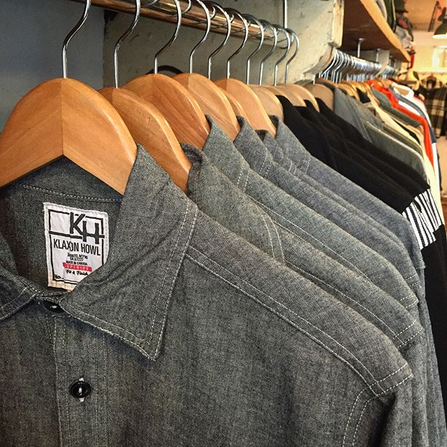 """Resupply of our """"Big Yank"""" Japanese 100% Colton Chambray Work Shirts. Single and double needle, straight and chainstitch construction. Flat felled seams. Contrasting bar tacks at points of strain. Catseye buttons. Sweat proof/tobacco pocket with pen/pencil hole. Available in Black and Blue. #bigyank #workshirts #chambrayshirt #chambrayworkshirt #chainstitch #catseyebutton #japanesefabric #madeincanada #supportlocal #slowfashion #futurevintage"""