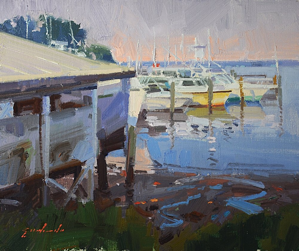 "Painting: ""Anchored"" 10x12 oil by Louis Escobedo"