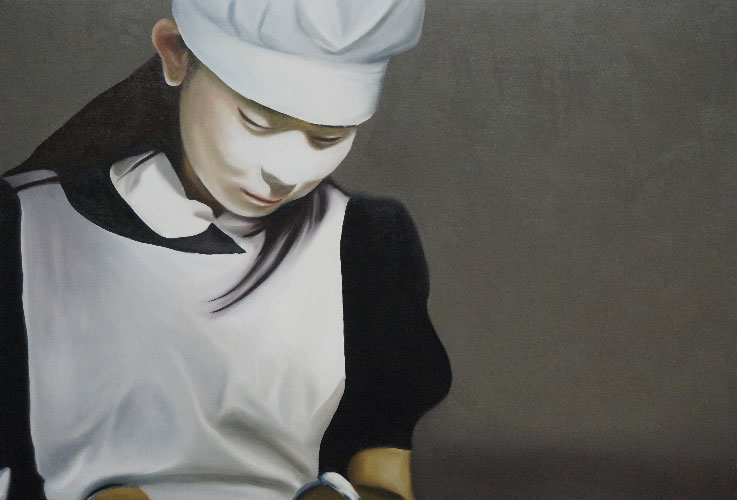 "Minori Aoi in ""I Love Big Needle"" 9:47.153, 2014, Oil on Canvas, 30 x 44 inches."