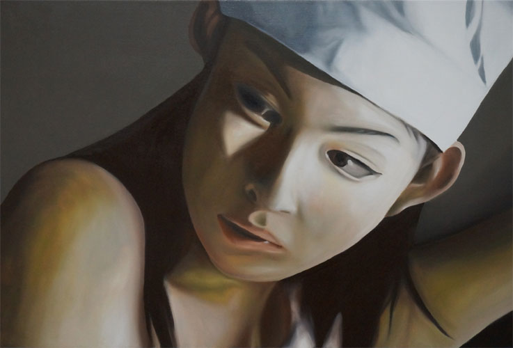"Minori Aoi in ""I Love Big Needle"" 13:39.669, 2014, Oil on Canvas, 30 x 44 inches."