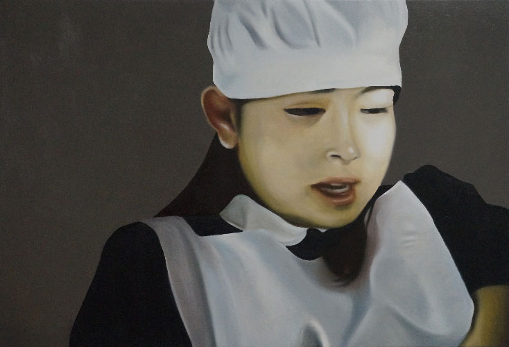"Minori Aoi in ""I Love Big Needle"" 9:41.014, 2014, Oil on Canvas, 30 x 44 inches, Private Collection"