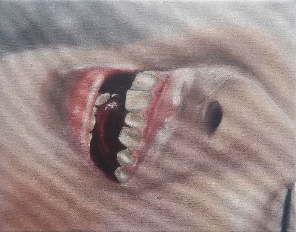 "Study for Minori Aoi in ""Baby Kiss"" (Mouth Shot), 2017, Oil on Canvas, 8 x 10 inches."