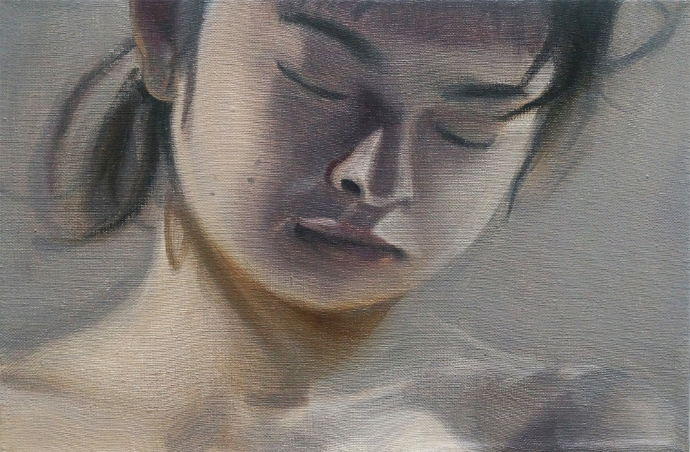 "Study for Minori Aoi in ""Dreaming Sailor"" (Looking Down, First Version), 2017, Oil on Linen, 8 x 12 inches."