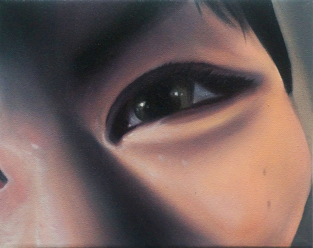 "Study for Minori Aoi in ""Angel"" (Fragment: Eye), 2017, Oil on Canvas, 8 x 10 inches."