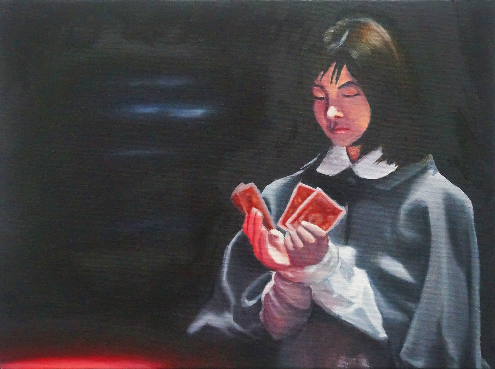 "Study for Minori Aoi in ""Alice"" (Cards, Clothed Version), 2017, Oil on Canvas, 12 x 16 inches."