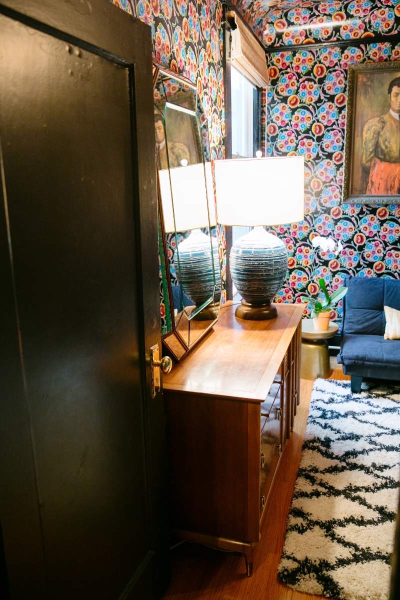 After: Paul McCobb Dresser, Lamp from the Basement, Found Mirror, Moroccan Rug