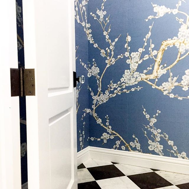 A Peek into the Powder Room at #projectbrittanymeadows.  Custom Wallpaper from @brunschwigfilsny. Marble Floors from @exquisitesurfaces #jrdsummerofinstalls