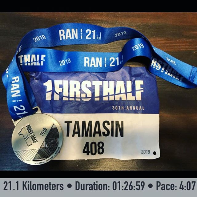 Sub zero temps, frozen limbs, but a shiny new PB this past weekend at the 30th @vanfirsthalf 1/2 marathon🏃‍♀️❄️🏅 #workinprogress #keepmovingforward #halfmarathon #runyvr
