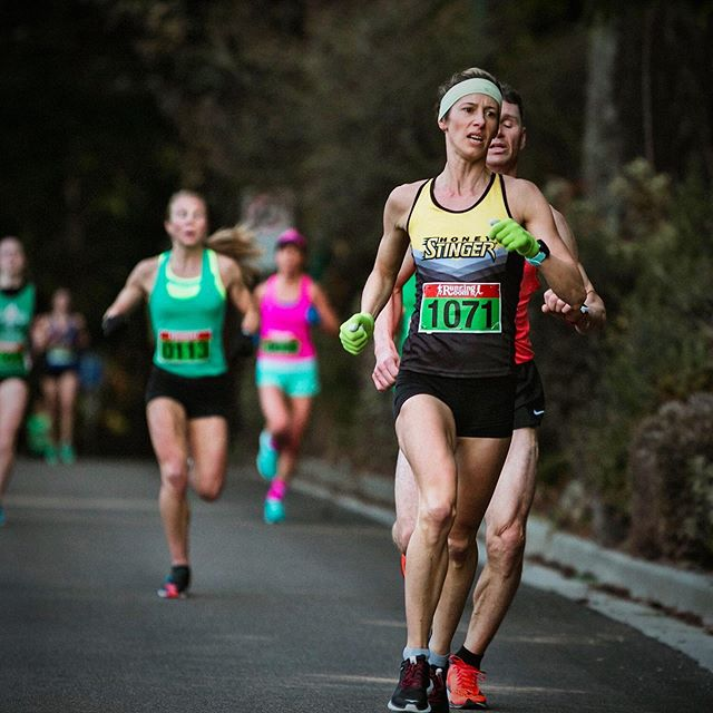 Racing's fun, but it's not always pretty, the end of a 5k really really hurts! 😬 Chasing the finish line at the St.Patricks day 5k, for a new PB.🏅☘️ #digdeep #grit #suckitup #5k #chasingsub19 #fasternexttime  @honeystinger 🐝