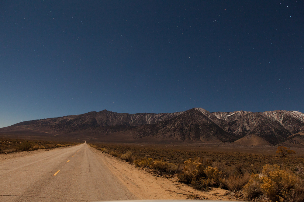 Road to our tiny cabin in Lone Pine. Taken with a 30-second exposure in pitch-black nighttime.