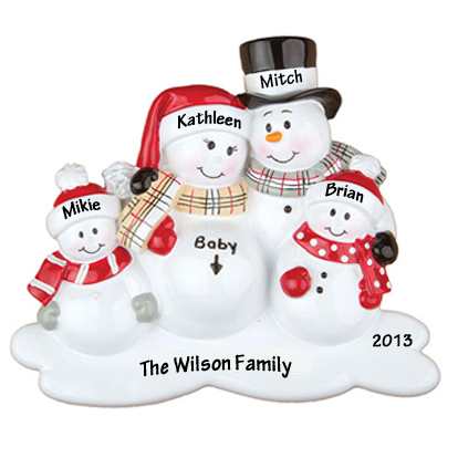 Expecting Snowman Family with Two Children Personalized Christmas