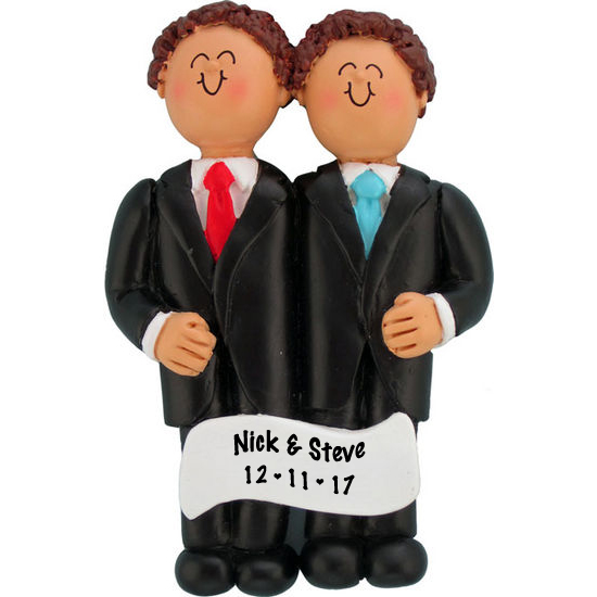 Two Grooms Personalized Wedding Christmas Ornament — Ornament Creations