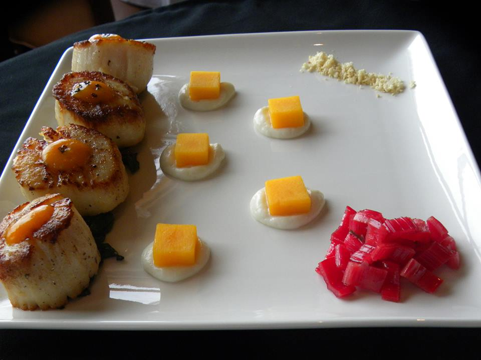 Diver Scallops with Cauliflower Moose, Butternut Squash, Red Chard & Ginger & Carrot Sauce