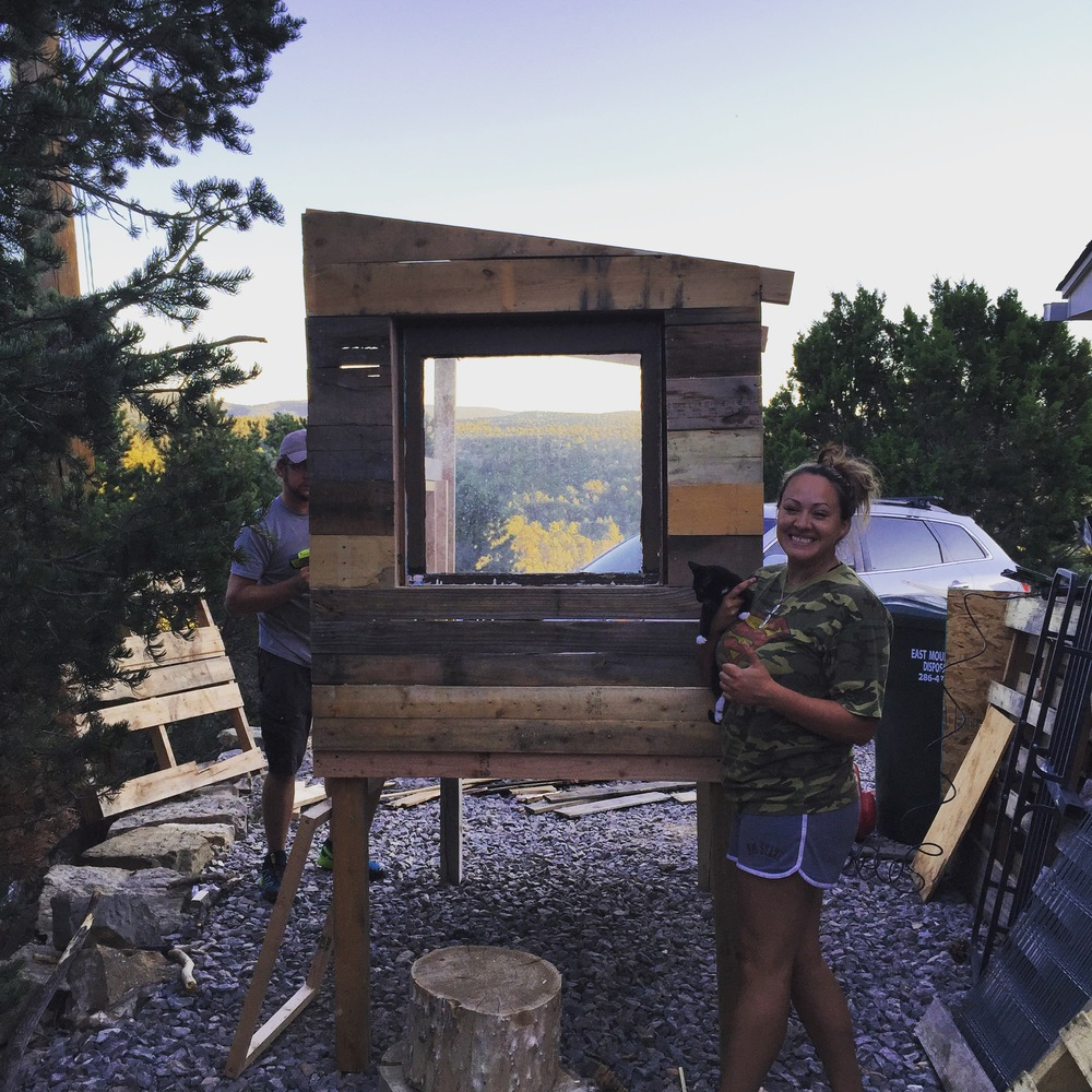 Starson and I recently built a chicken coop out of pallet wood. The old window was an antique, it fits beautifully.