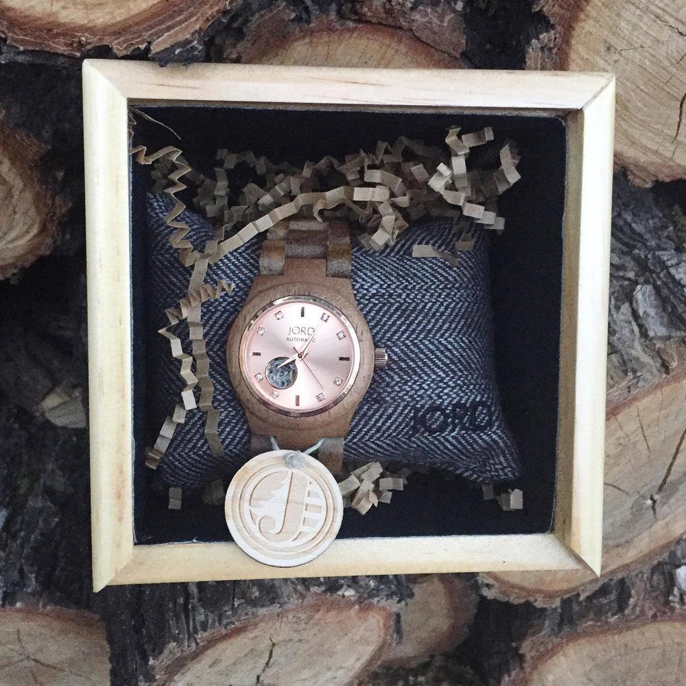Cora; Koa & Rose Gold Watch