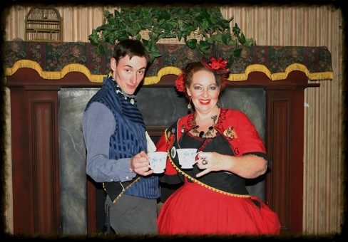 The Grand Arbiter and Madame Askew emjoying tea at Wild Wild West Steampunk Convention 3 Photo by Alexandra Munro