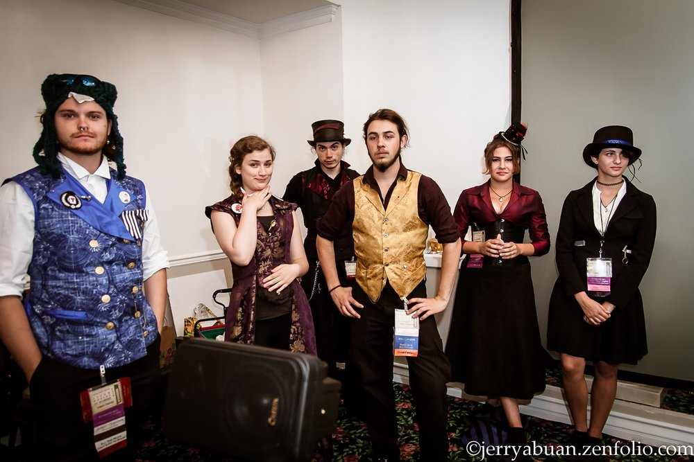 Our delightful band of Interns at Gaslight Steampunk Expo 2017 Photo Courtesy of Jerry Abuan
