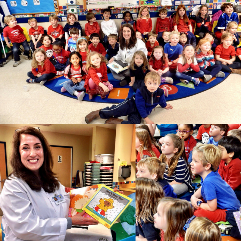 Dr. Maria Meyers recently read to the students at Primrose School at Meadowbrook during Read Across America Day. The school donated over 500 books to the Western Health Center's Reach Out and Read-Alabama program.