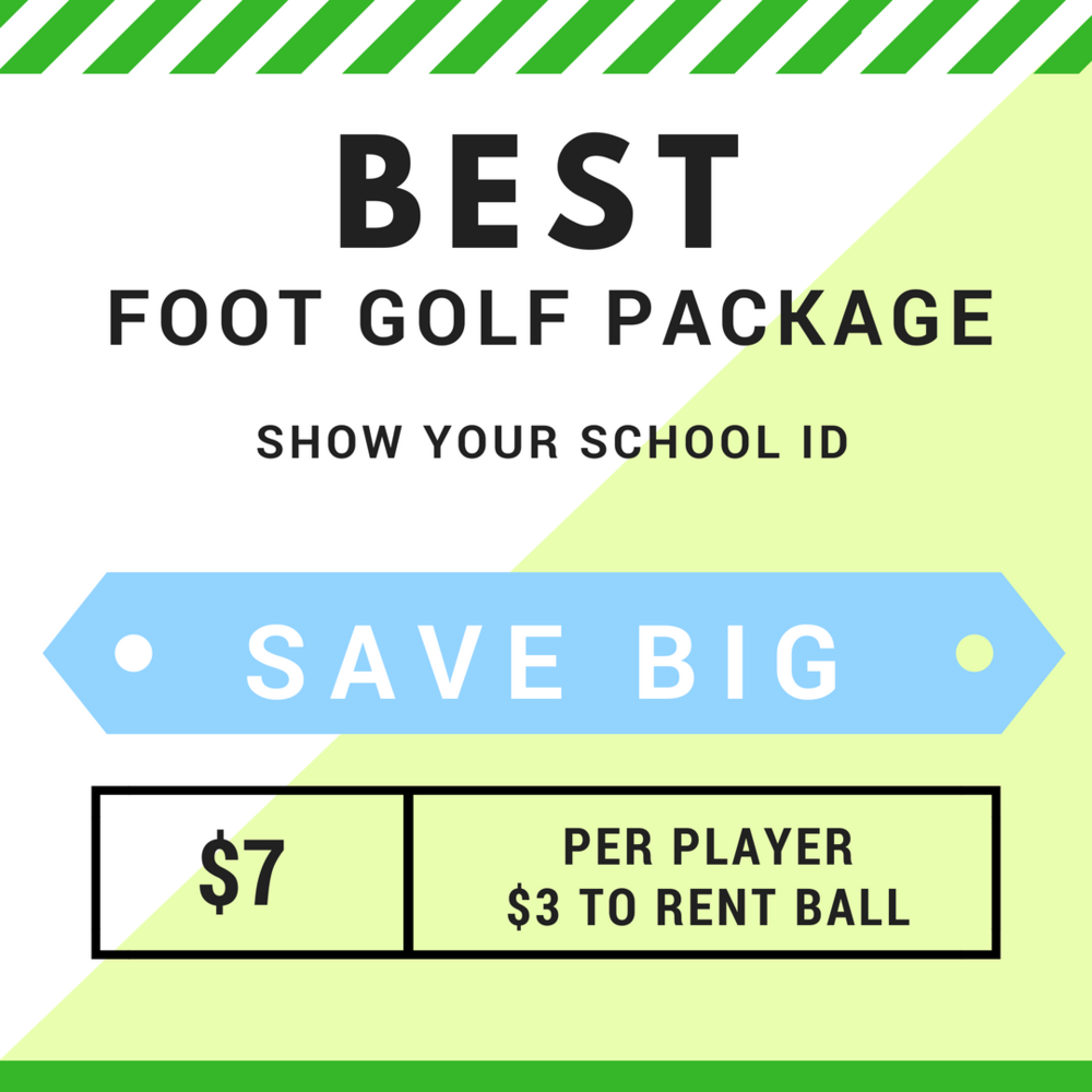 Soccer and Golf - Together At Last  - Save $3 by showing your School ID. If you have a soccer ball, bring it so you don't have to pay for the rental. Call ahead for tee times. 231-529-6574.