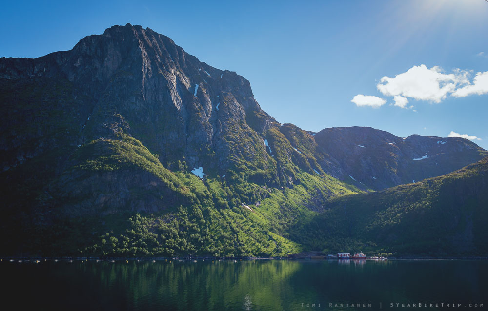 The view from my campsite at Fjordgård, Senja.