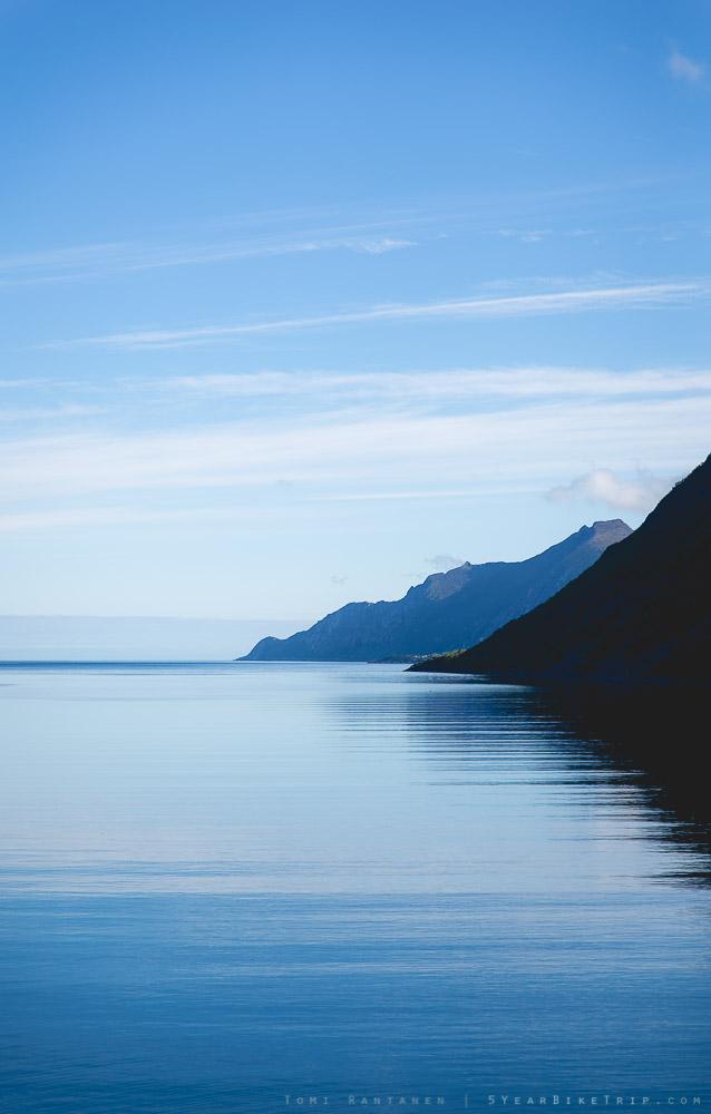 Blue fjord in Fjordgård, Senja.