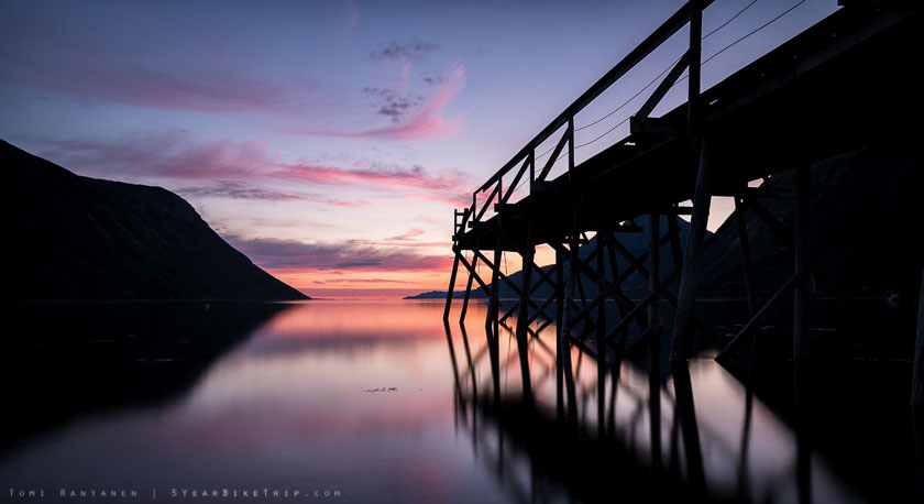 Pier in Helgeland, Norway at sunset.