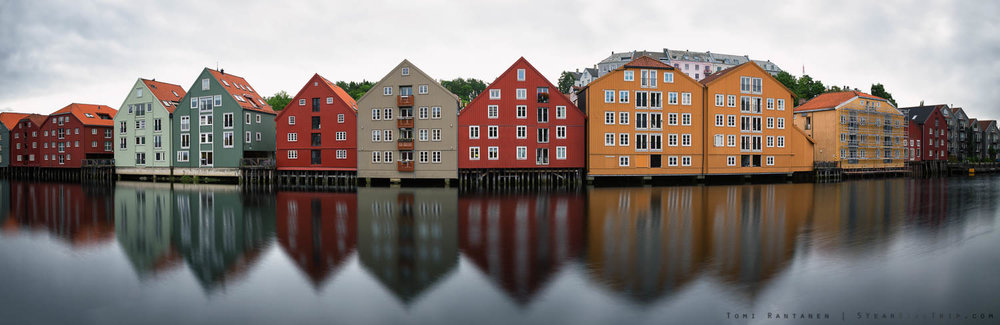 Panorama of riverside buildings in Trondheim.