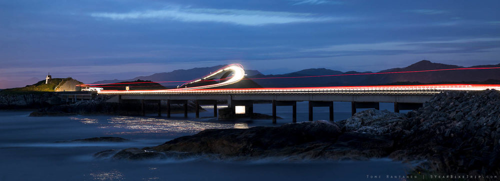 Long exposure of car headlights at the Atlantic Road.