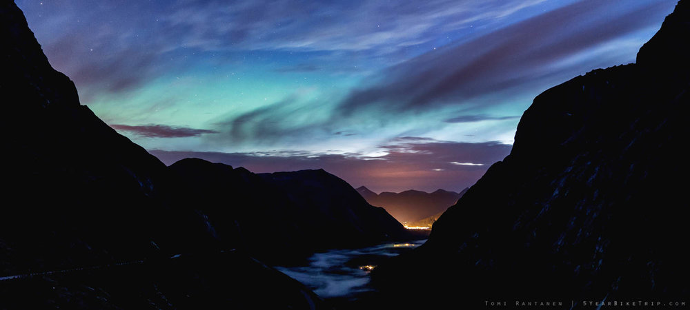 Northern lights over Trollstigen.