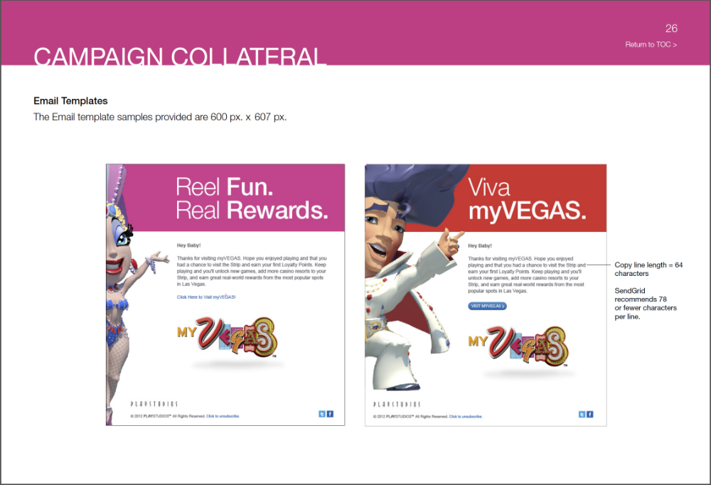 PlayStudios —MyVegas Brand Guide, incorporating all of the design elements and campaigns create