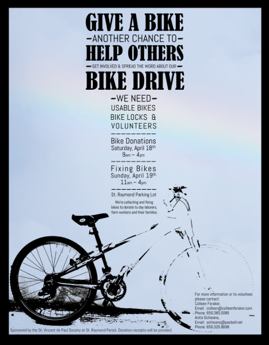 Bike Drive Event  to benefit local day laborers, farm workers and their families via the St. Vincent de Paul Society