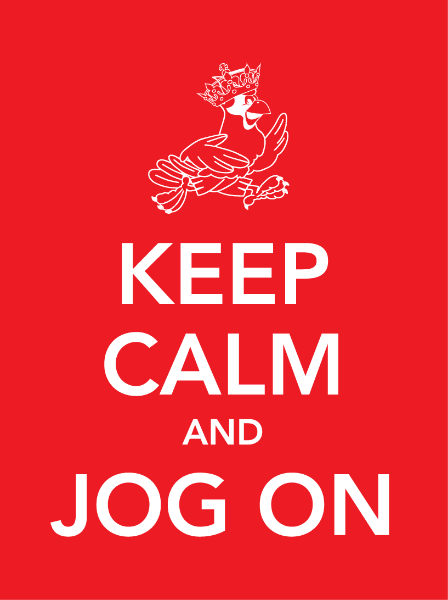 "Fundraising Jogathon Theme   using the school's cardinal mascot and embracing the 'of the moment' popularity of the iconic ""KEEP CALM"" graphics to inspire a daylong event involving adults and kids"