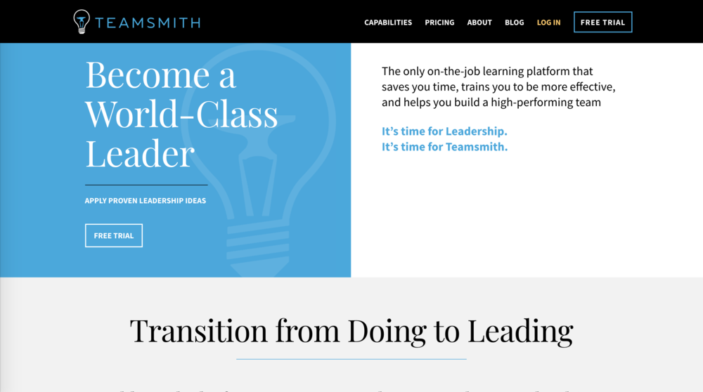 teamsmith.co Landing Page  Desktop View