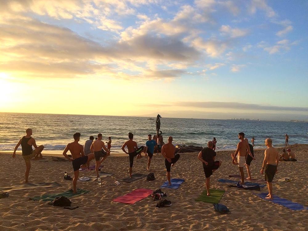 Group Yoga on the Beach