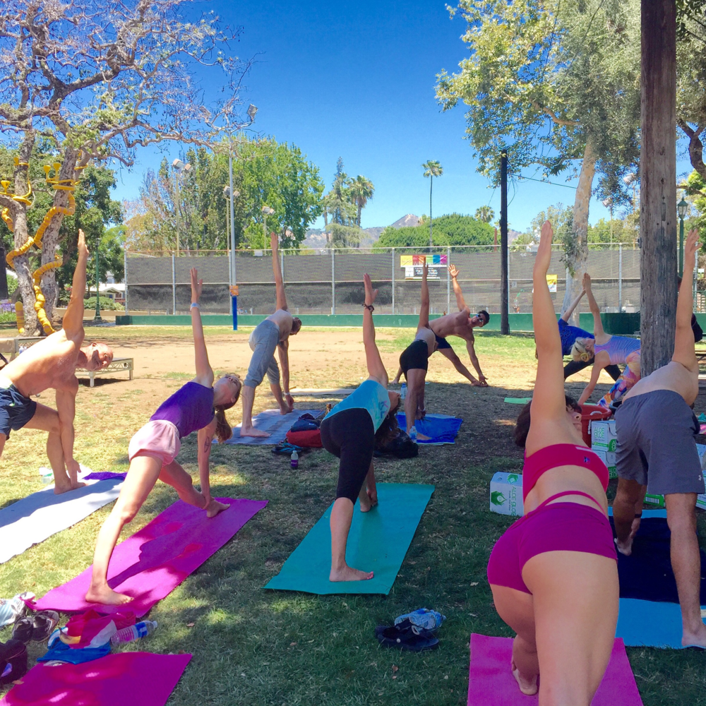 "Participating in National Yoga Day, Zen Casa taught at ""Yoga in the Park"".  This one day event, sponsored by the City of West Hollywood, raised funds to benefit Aid for Aids - a non-profit providing services to those with HIV/Aids within the Los Angeles area.    June 2016"