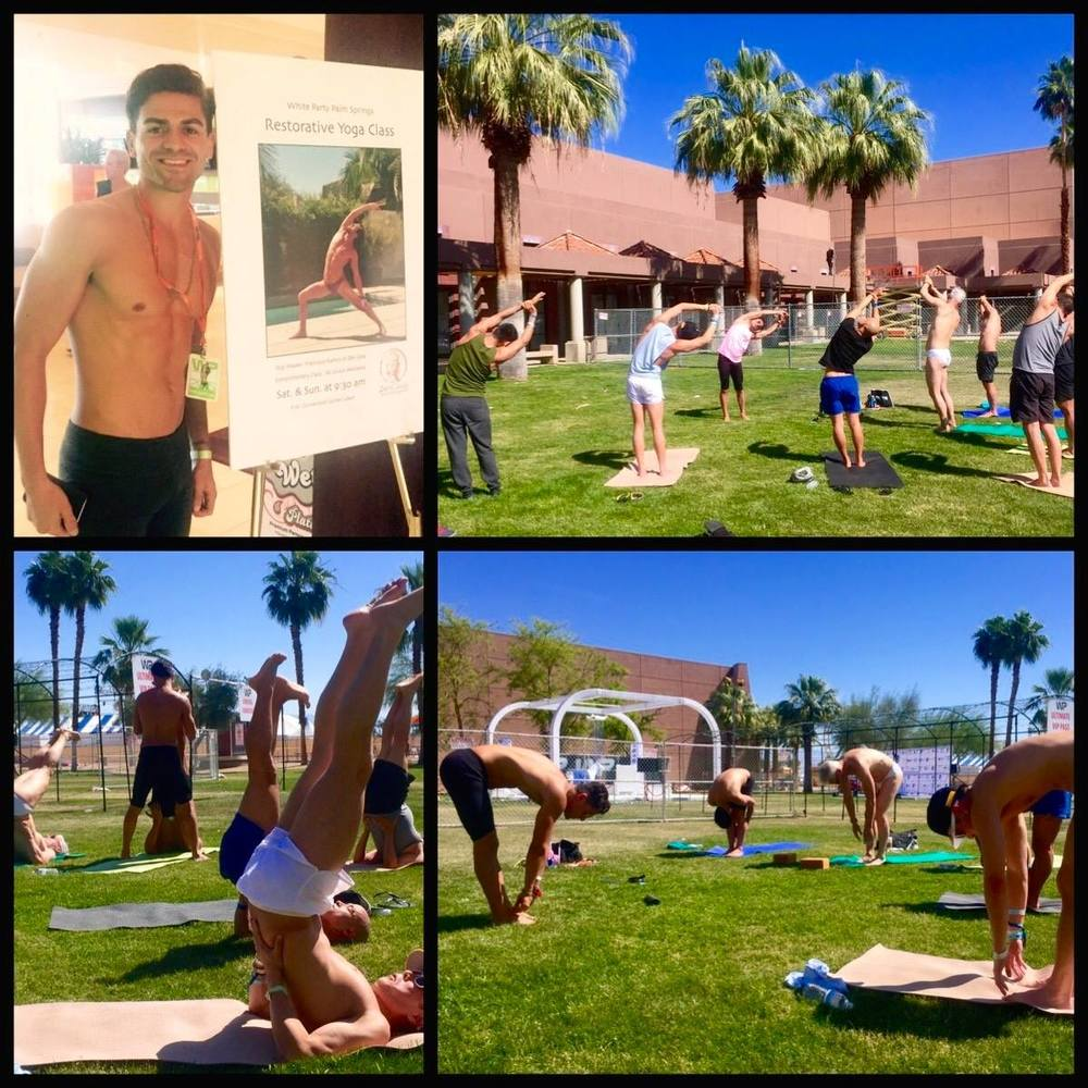 Zen Casa joined White Party of Palm Springs to bring yoga to the Party!! Each morning Francisco offered participants the opportunity to recenter, realign, and connect within to their own energy.  April 2015