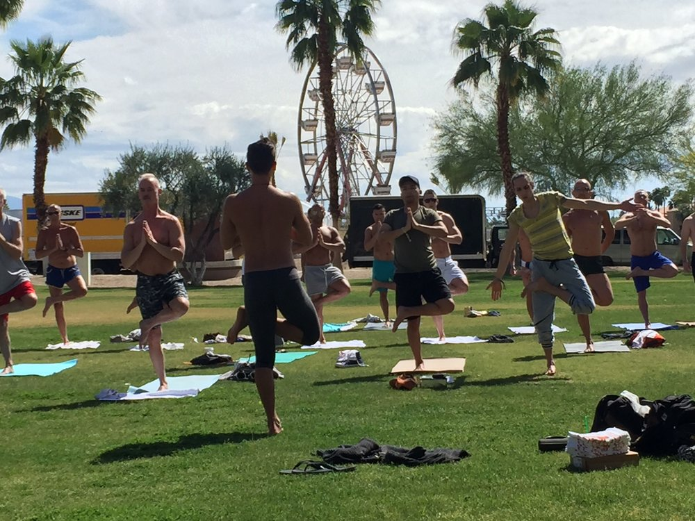 Will you be at White Party Palm Springs???   For the past 3 years Zen Casa has taught yoga on the front lawn of the Renaissance Hotel during White Party Weekend.  This complimentary class is organized by White Party to allow patrons an opportunity to refuel and connect with the stillness inside themselves.  Join us next year!!