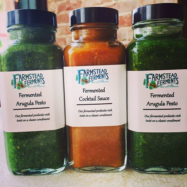 Introducing the newest creations in the @farmsteadferments #FermentedCondiments line: Fermented Arugula Pesto (with Arugula from our farm, #FreeBirdFarm), and Fermented Cocktail Sauce! Only available at our storefront in #ScottsvilleVA, #farmsteadmercantile. #fermenteverything #eatlocal #supportsmallbusiness #healthyyummy #probiotics