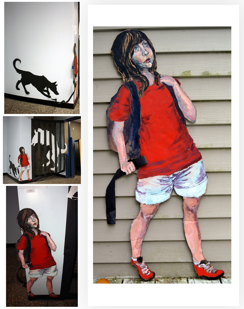 Installation Little Red-Outside the Slaughterhouse, Silhouette Cut-Outs and Acrylics On Cardboard Cutout, life size.jpg