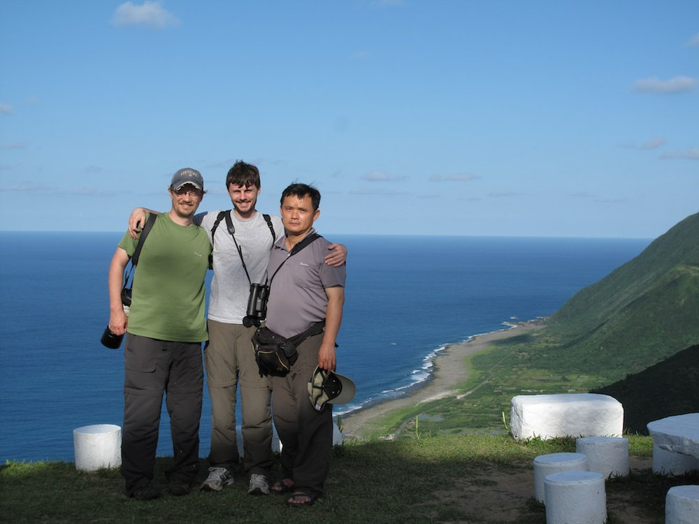 Taiwan bird team on Lanyu Island May 24, 2012. Left to right: Herman L. Mays Jr., Bailey D. McKay, Yao Cheng-te