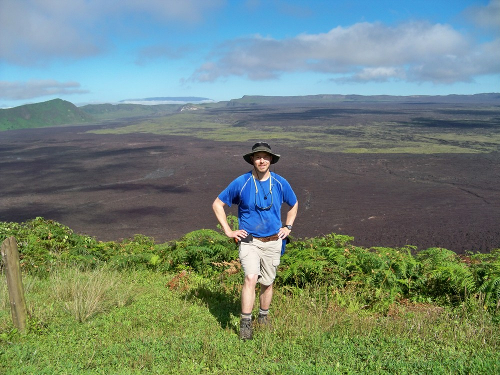On the rim of the crater at Sierra Negra Volcano; Isabela Island, Galapagos Islands.