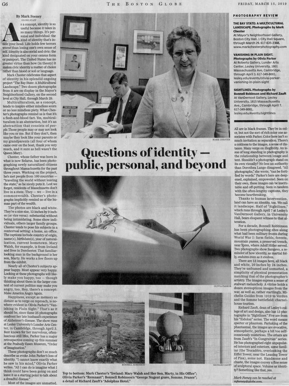 """Boston Globe  Art: PHOTOGRAPHY REVIEW  Questions of identity — public, personal, and beyond By   Mark Feeney    GLOBE STAFFMARCH 14, 2019. Photograph:  Mark Chester's """"Ireland: Mary Walsh and Her Son, Marty, in His Office"""""""