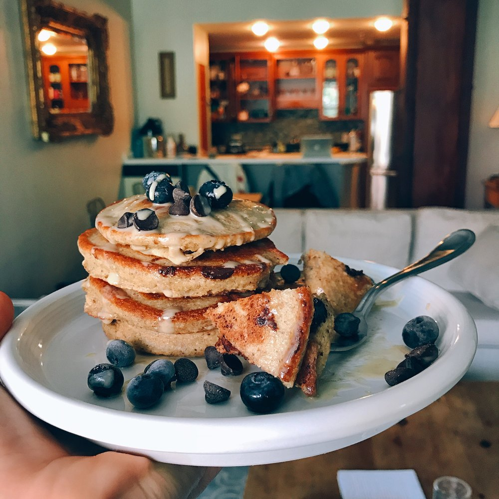 super simple blueberry chocolate chip pancakes that are dairy and gluten free! Crispy edges, packed with feel good ingredients, and taste delicious!